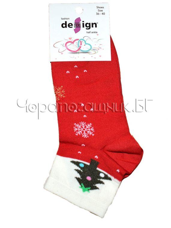 Дамски ароматизирани коледни чорапи Design в червено Елхичка 0385