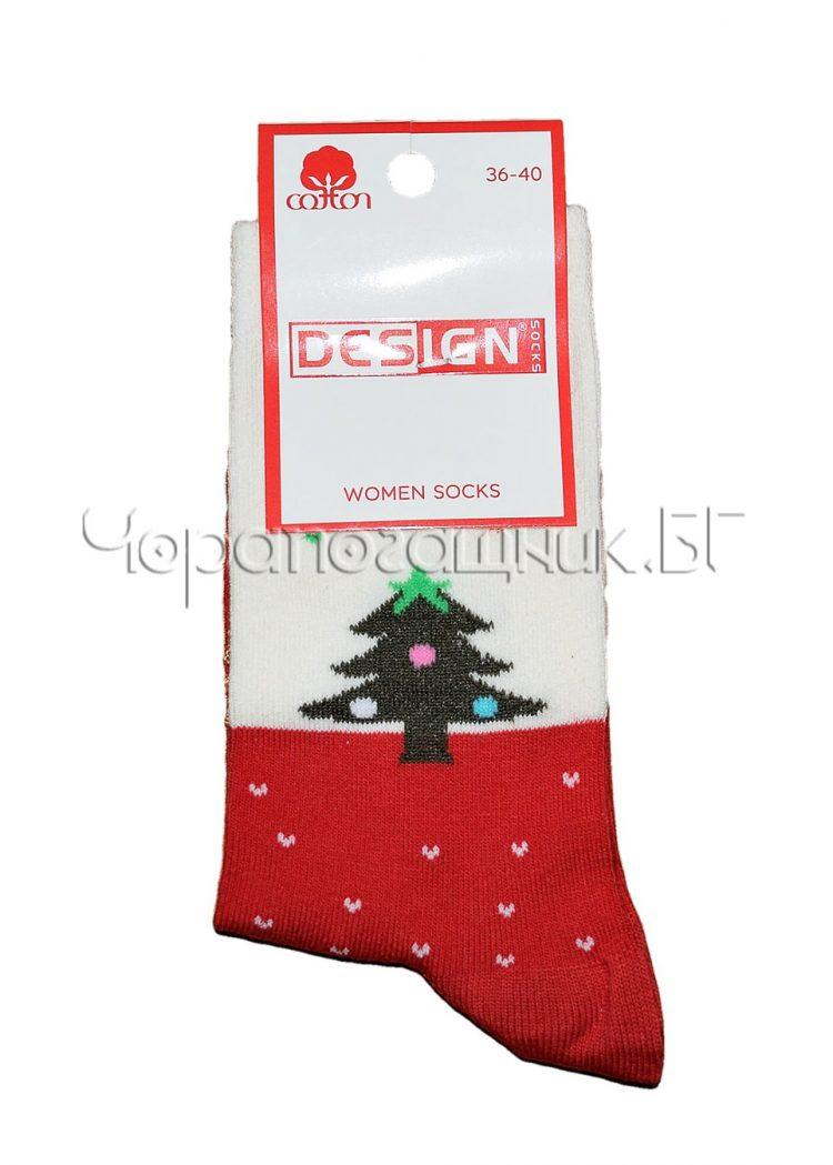 Дамски ароматизирани коледни чорапи Design в червено Елхичка 0388