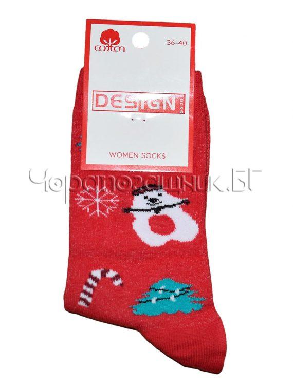 Дамски ароматизирани коледни чорапи Design в червено 0387