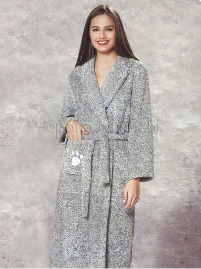 Дамски зимен халат в сиво Dika 5499
