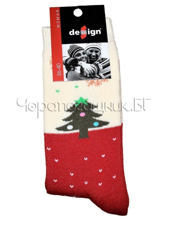 Дамски коледни термо чорапи Design в червено Елхичка 0389