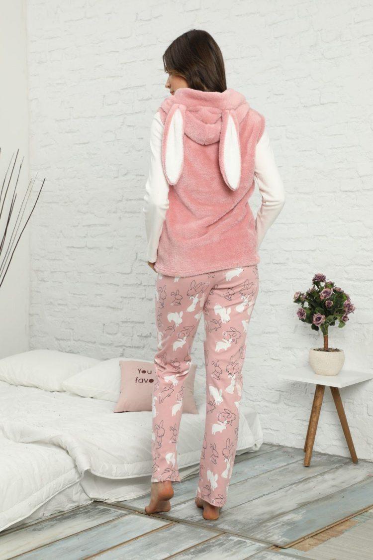 Дамски комплект пижама с елече с качулка и заешки ушички 5921