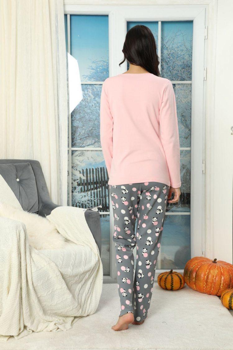 Дамски комплект пижама с елече с качулка 5922 с панда