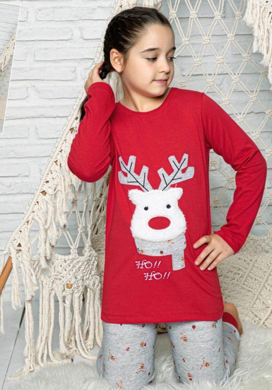 Детска коледна пижама с еленче Ho Ho Ho 234