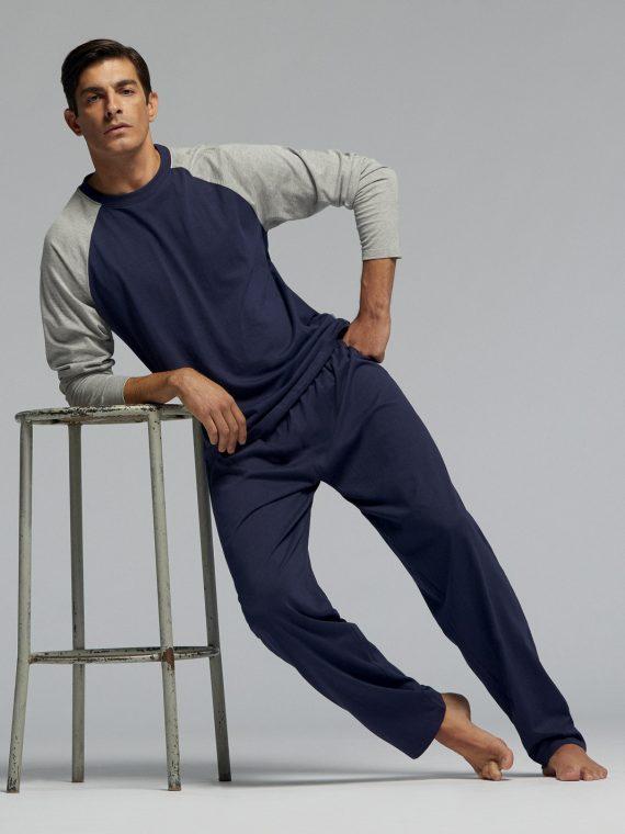 Мъжка памучна пижама Pompea Prisco в тъмно синьо
