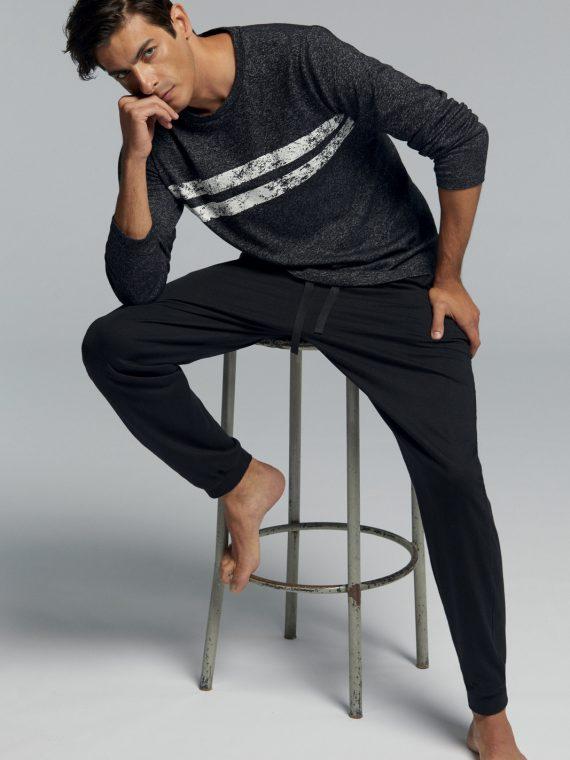 Мъжка памучна пижама Pompea Ruben в тъмно сиво