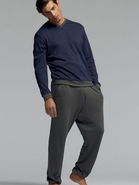 Мъжка памучна пижама Pompea Tristano в тъмно синьо