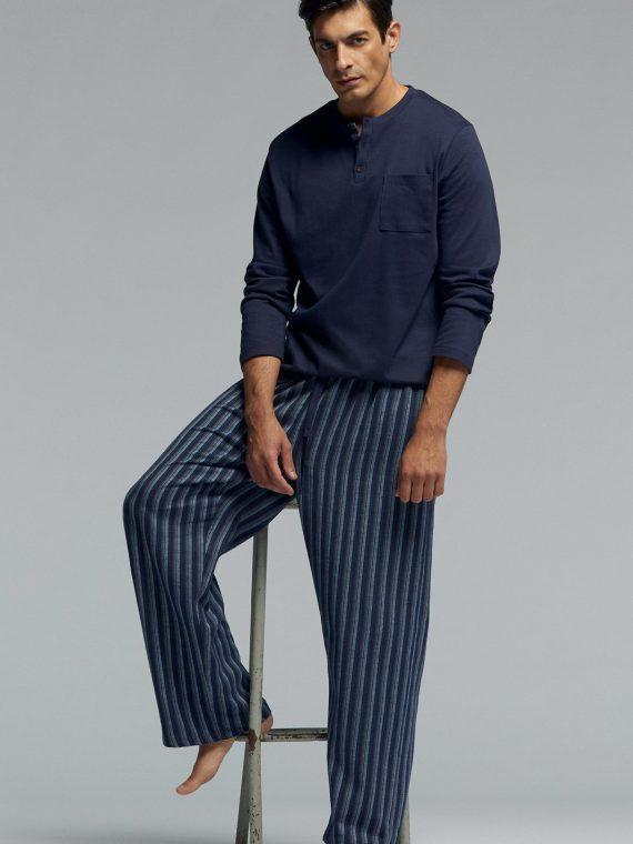 Мъжка памучна пижама Pompea Yago в тъмно синьо