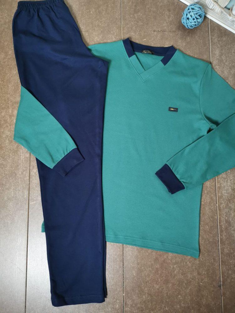 Мъжка плътна памучна пижама Иватекс 8015 в зелено