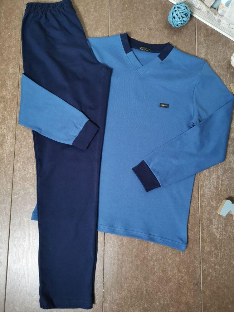 Мъжка плътна памучна пижама Иватекс 8015 в синьо