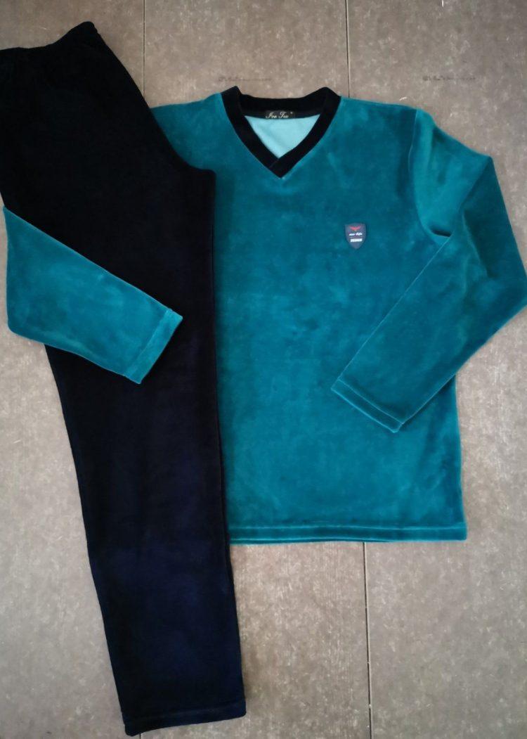 Мъжка плюшена памучна пижама Иватекс 9988 в зелено