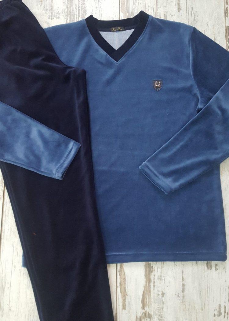 Мъжка плюшена памучна пижама Иватекс 9988 в синьо