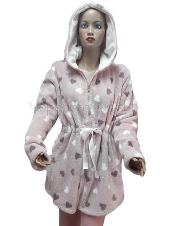 Дамски зимен пухкав халат от велсофт с качулка и цип Desislava 4007 в розово със сърца