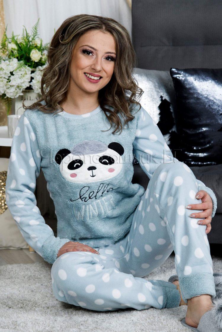 Дамска зимна дебела пижама от пухена материя и полар с панда в светло зелено 9180