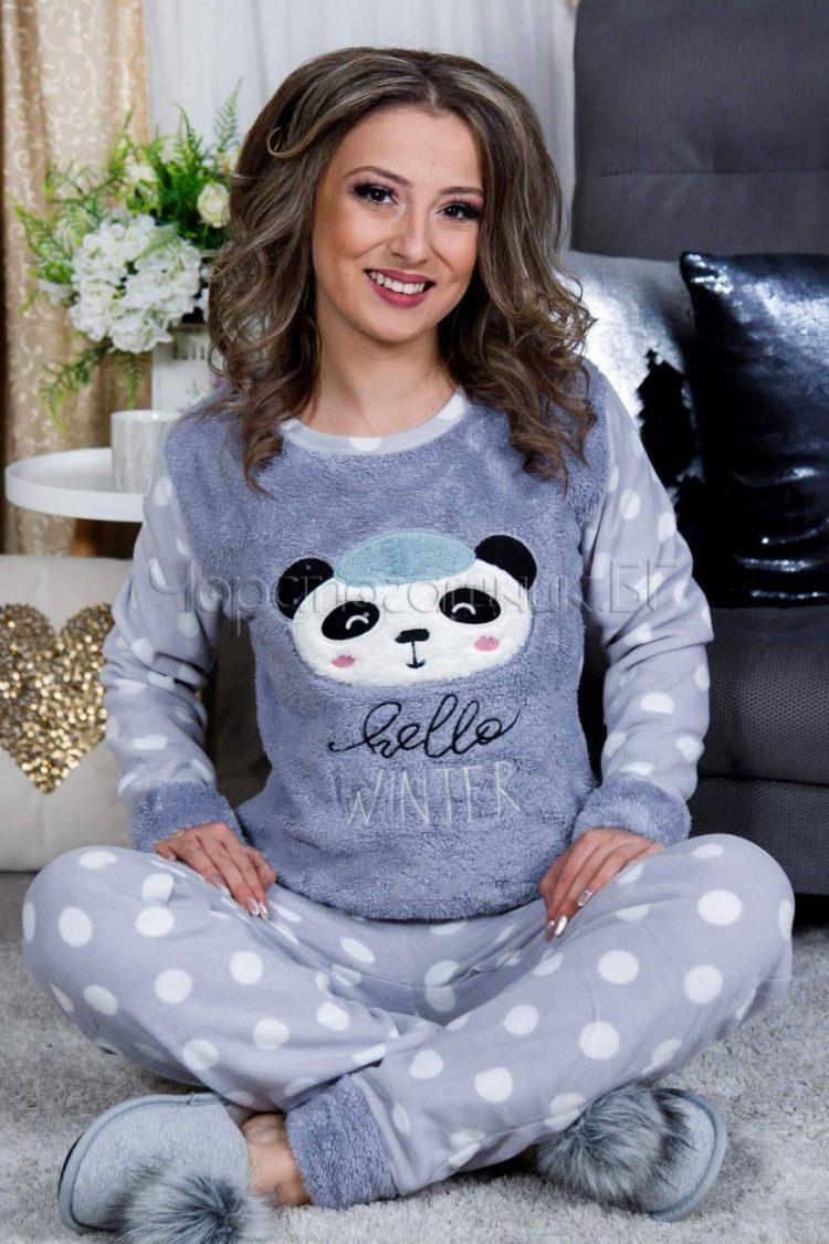 Дамска зимна дебела пижама от пухена материя и полар с панда в сиво 9181