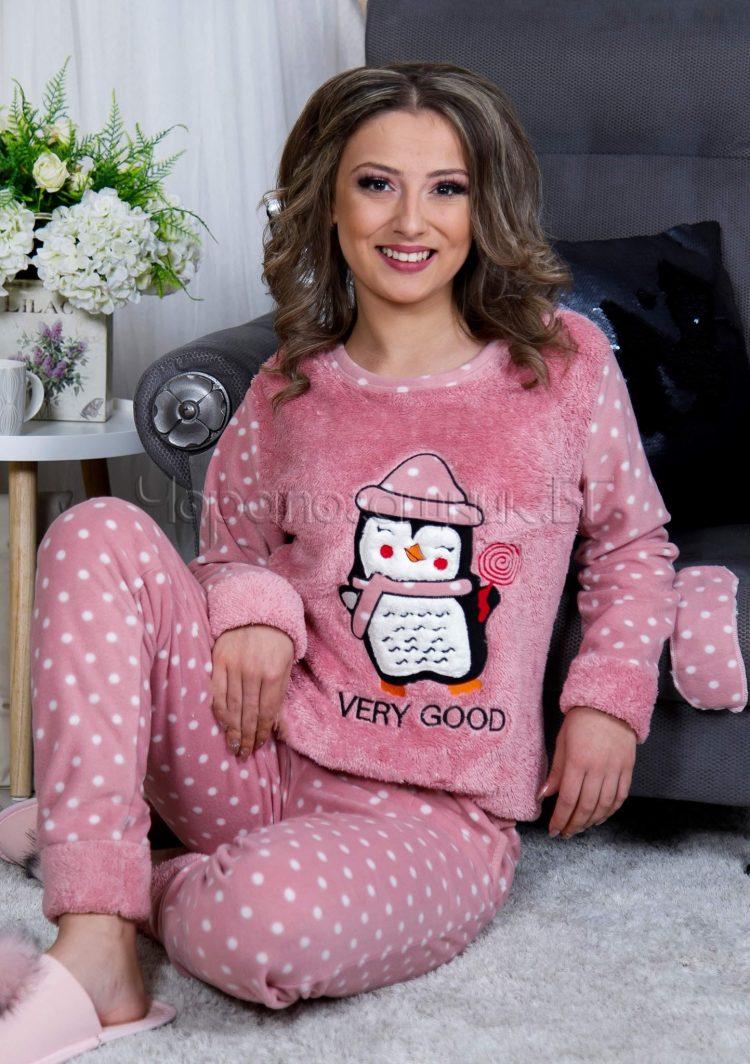 Дамска зимна дебела пижама от пухена материя и полар с пингвинче с близалка 2021