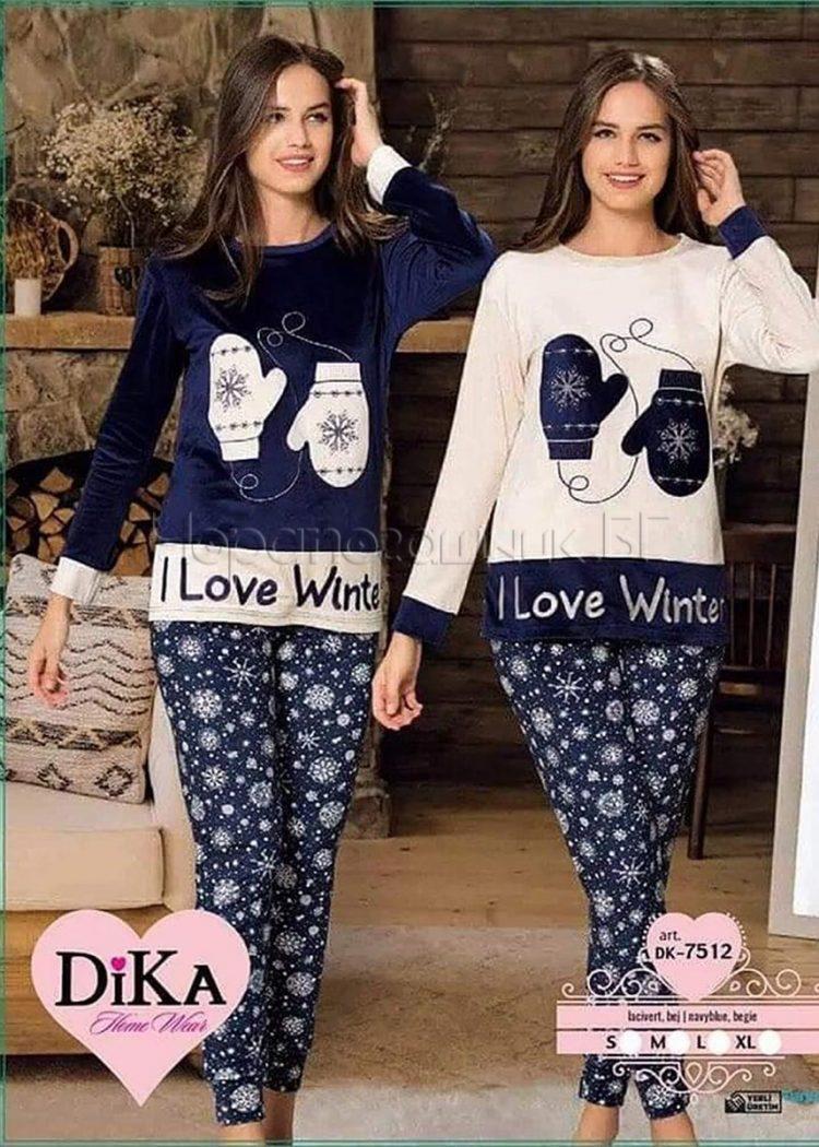Дамска зимна пижама от полар със звездички и ръкавички в синьо DIka DK7512