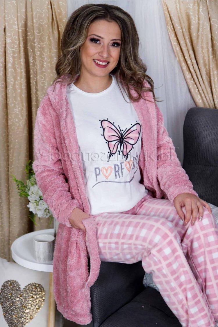 Дамски комплект пухкав халат с пижама в розво с пеперуда 29190