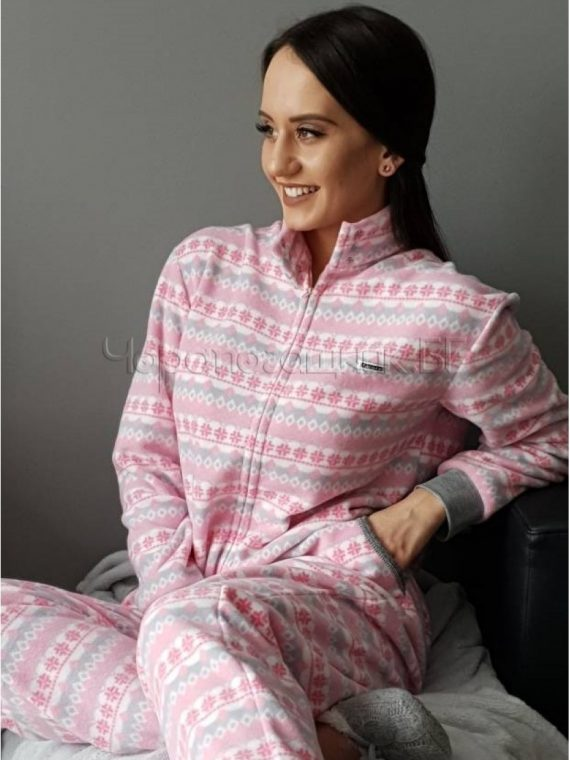 Дамска пижама гащеризон от полар Furore в розово 8623