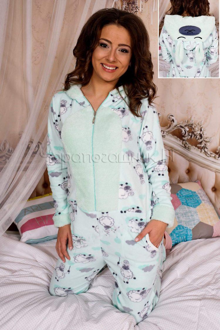 Дамска топла пижама гащеризон в цвят мента със сладки овце 5329