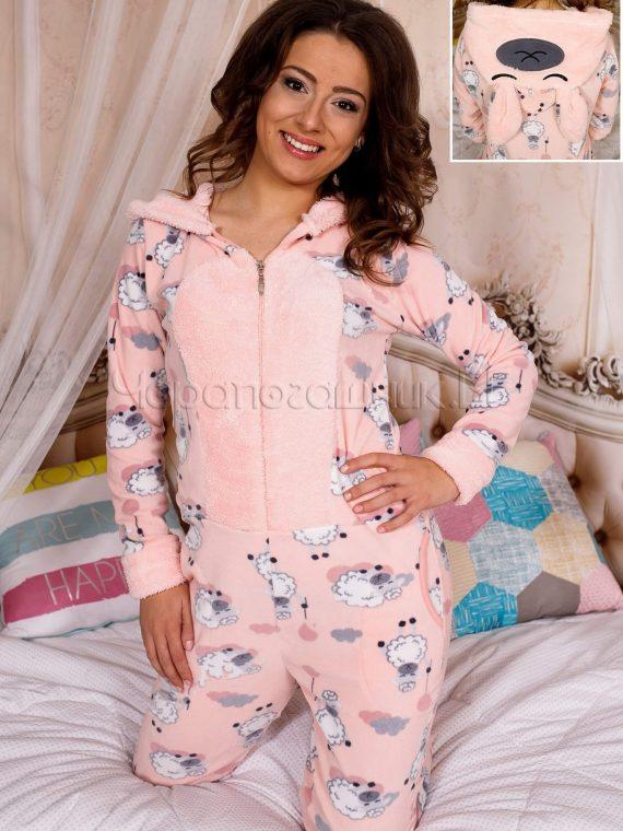 Дамска топла пижама гащеризон в цвят праскова със сладки овце 5330