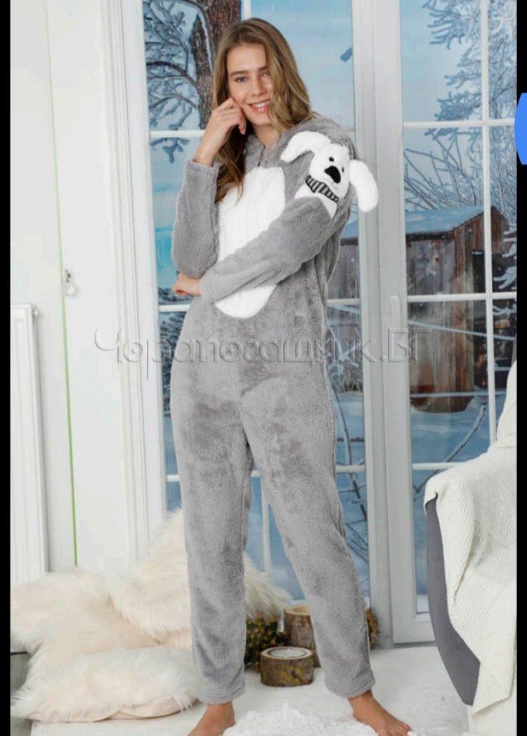 Дамска топла пухкава пижама гащеризон в сиво с кученце 5331