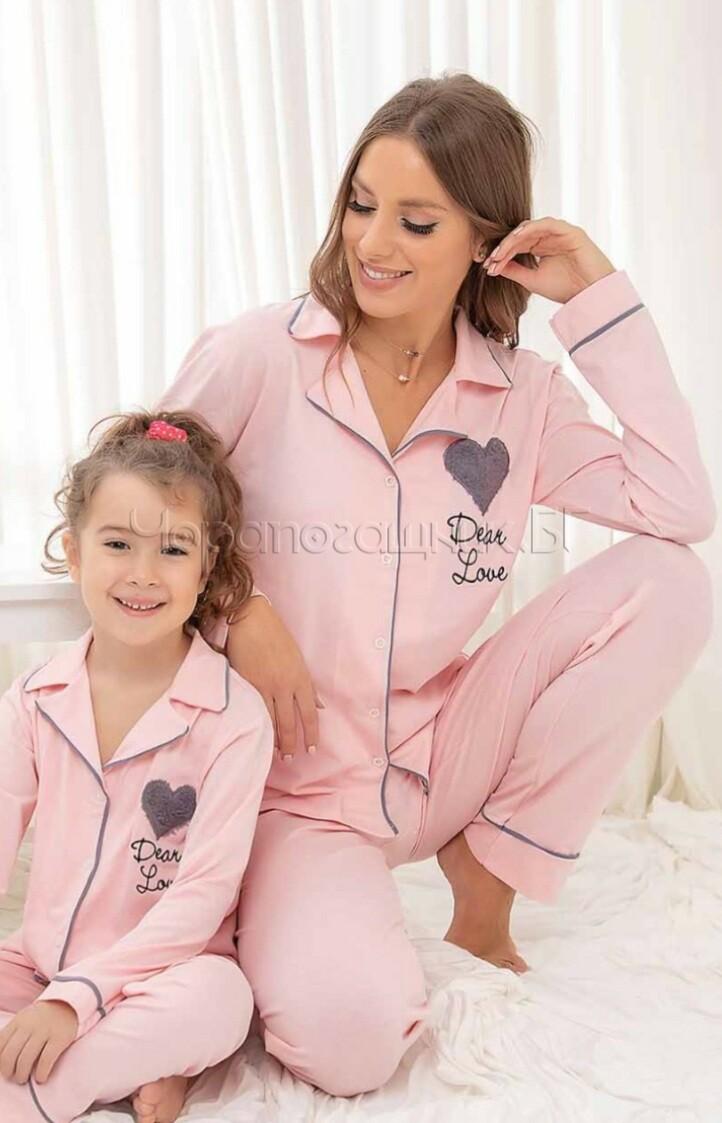 Дамска елегантна пижама с копчета в цвят сьомга с пухкаво сърце 6993