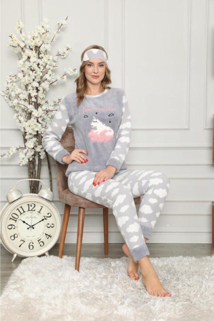 Дамска зимна дебела пижама от пухкава материя с еднорог в сиво 2021