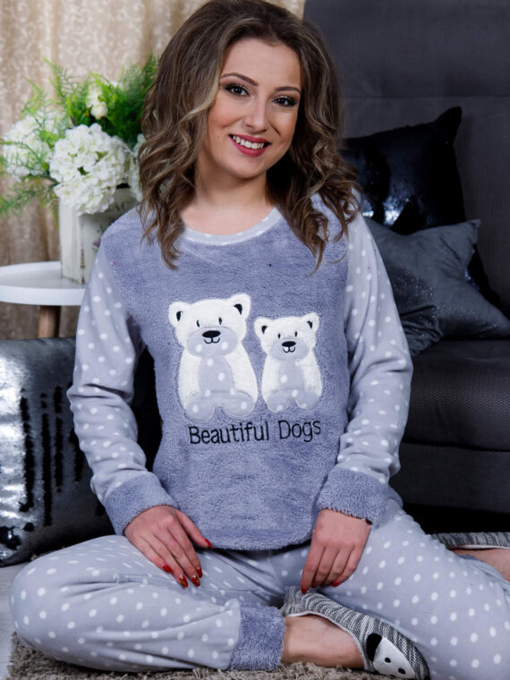 Дамска пижама от пухкава материя и полар с мечета в сиво 2021