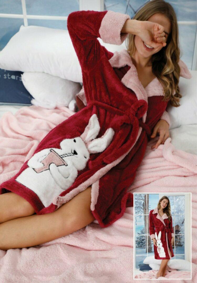 Дамски зимен пухкав и мек халат с яка със зайче 141