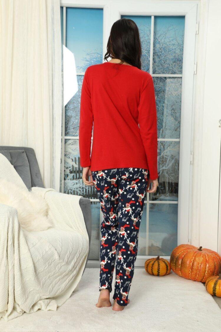 Дамски коледен комплект пижама с еленче и пухкав халат 6990