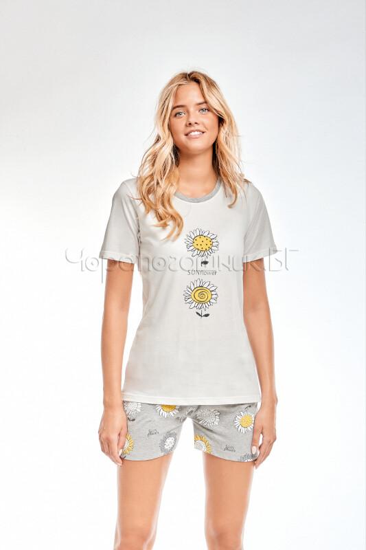 Дамска елегантна пижама с къс ръкав Infiore Margherite